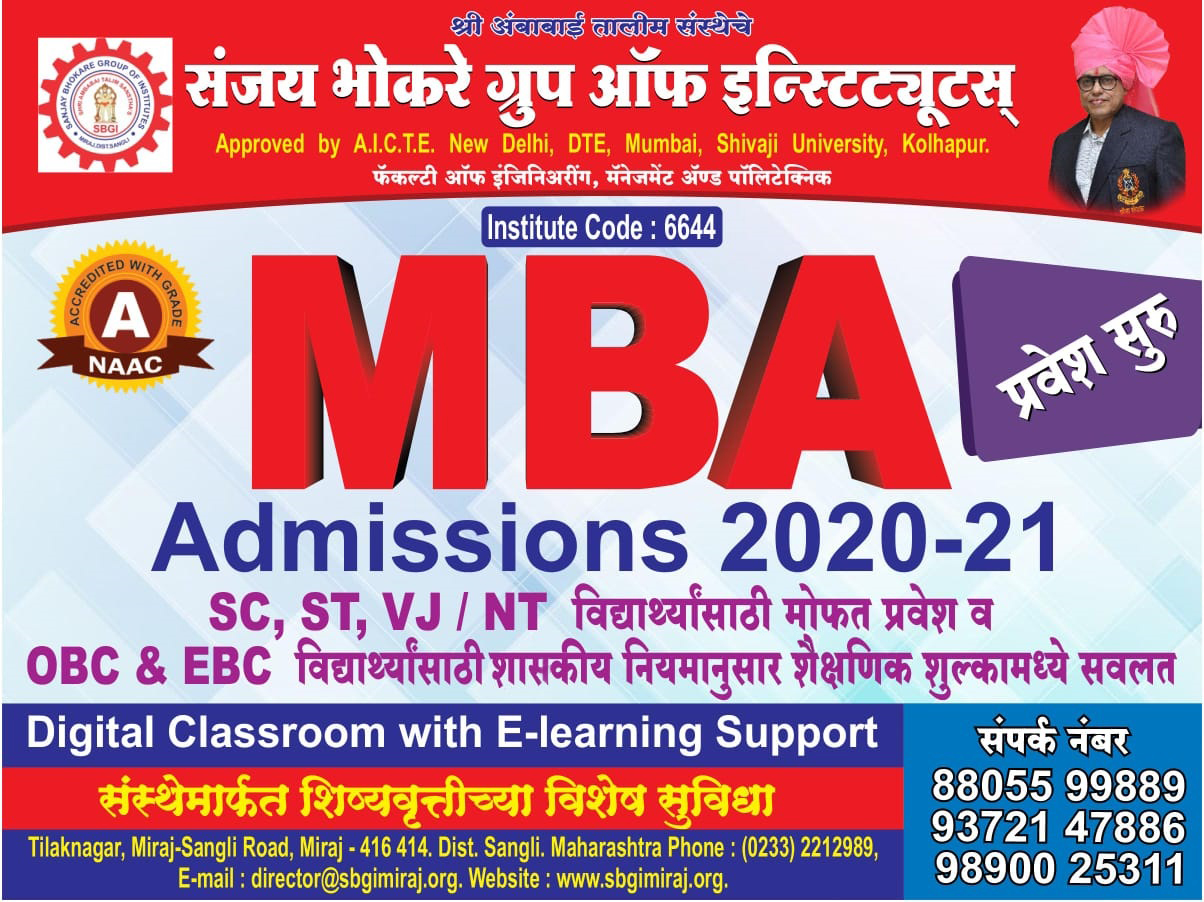 WELCOME TO SBGI MBA Department